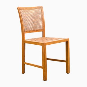 Woven Cane & Solid Beech Dining Chair, 1940s