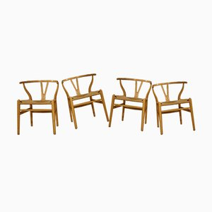 Mid-Century Wishbone Lacquered Beech Dining Chairs by Hans J. Wegner for Carl Hansen & Søn, Set of 4