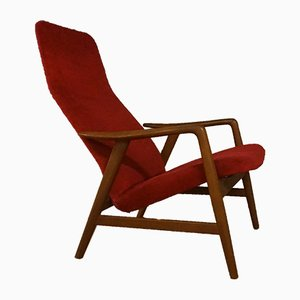 Mid-Century Teak & Red Velvet Armchair by Alf Svensson for Fritz Hansen