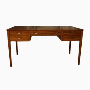 Mid-Century Mahogany Desk with Brass Handles by Ole Wanscher for A.J. Iversen