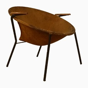 Mid-Century Balloon Lounge Chair with Brown Suede Leather by Hans Olsen for Lea A/S