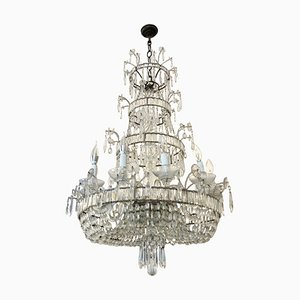Antique Twelve-Light Crystal Crystal Chandelier, 19th Century