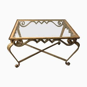 Hand-Hammered Gilt Iron and Glass Low Table by Pier Luigi Colli, Italy, 1950