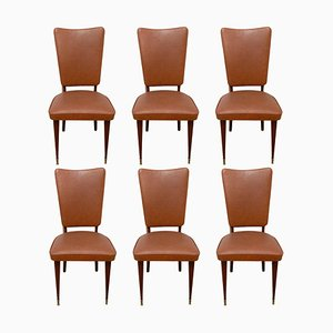 Mid-Century Dining Chairs in Brown Skai and Iroko Wood, 1960s, Set of 6