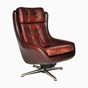 Mid-Century Swivel Leather Armchair from Peem, 1970s