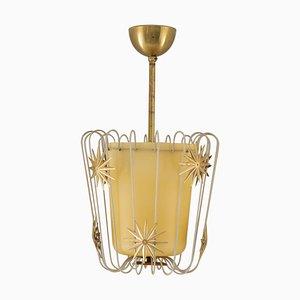 Scandinavian Pendant In Brass and Glass, 1940s