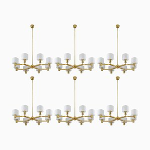 Large Scandinavian Chandelier in Brass and Glass