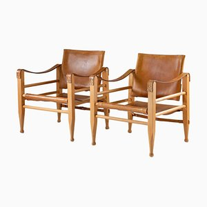 Scandinavian Safari Chairs in Cognac Leather by Børge Mogensen, Set of 2
