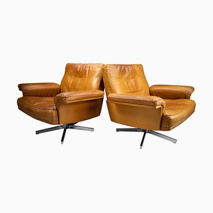 Model DS 35 Swivel Chairs in Patinated Cognac Leather from de Sede, Set of 2