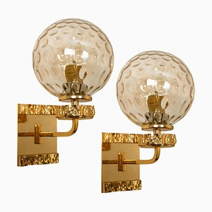 Gold-Plated Blown Glass Wall Lights in the style of Brotto, Set of 2