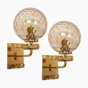 Vergoldete Wandlampen aus geblasenem Glas im Stil von Brotto, 2er Set