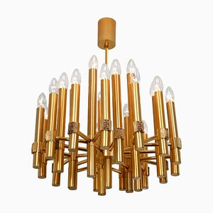 Large Sputnik Brass Chandelier by Angelo Brotto for Esperia Italia
