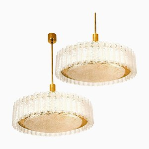Large Glass & Brass Pendants from Doria, 1969, Set of 2