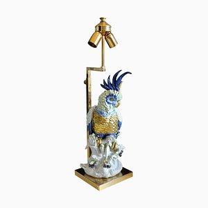 Cockatoo Lampe aus Porzellan mit Schirm, 1970er
