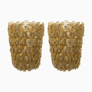 Flower Wall Lights from Barovier & Toso, 1990s, Set of 2