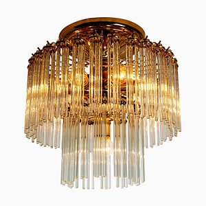 Glass Rod Waterfall Flush Mount by Sciolari for Lightolier, 1970s