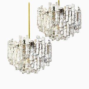 Large Modern Three-Tiered Brass Ice Glass Chandeliers by J.T. Kalmar, Set of 2