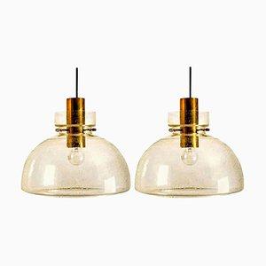 Models P210 & 4207 Pendant Lights by Herbert Proft for Limburg Glashütte, Set of 2