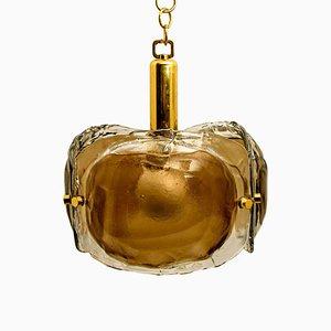 Brass and Brown Blown Murano Glass Pendant Light
