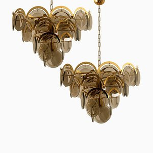 Large Smoked Glass and Brass Chandeliers in the Style of Vistosi, Set of 2