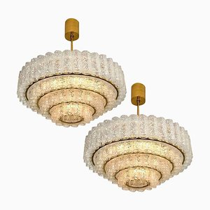 Large Murano Glass Chandeliers from Doria, 1960s, Set of 2