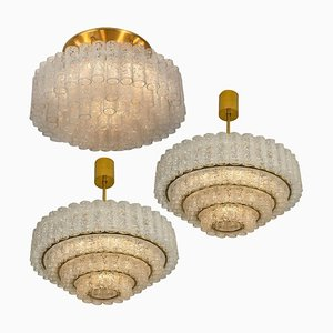 Large Glass & Brass Chandeliers from Doria, 1969, Set of 3