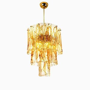 Brass Clear and Amber Spiral Glass Chandelier from Doria, 1970