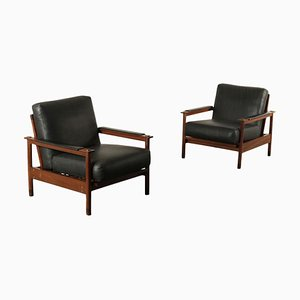 Armchairs in Teak & Leatherette, 1960s, Set of 2