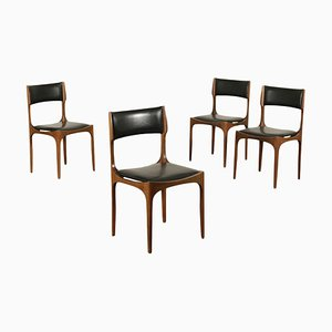 Beech & Foam Leatherette Chairs by Giuseppe Gibelli, 1960s, Set of 4