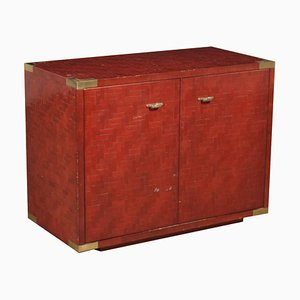 Slabbed Bamboo Stained Wood & Brass Cabinet, 1980s
