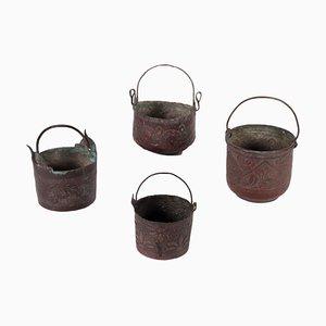 Copper Buckets, Set of 4