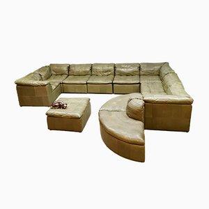 Modulares Mid-Century Sofa mit Grünem Patchwork Leder von Laauser, 1970er
