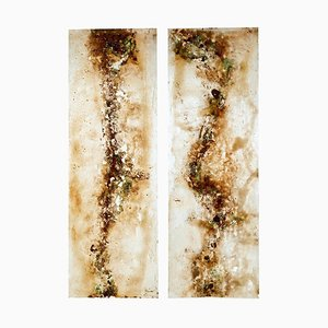 Large French Acrylic Abstract Panels, 1950s, Set of 2