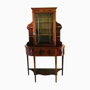Antique Edwardian Style Mahogany and Satinwood Inlaid Display Cabinet