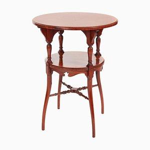 Tavolino in legno intarsiato a due ripiani