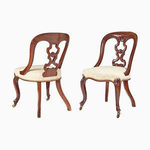 Antique Mahogany Side or Hall Chairs, Set of 2
