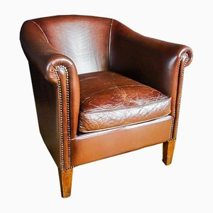 Vintage Dark Leather Lounge Chair
