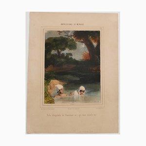 Paul Gavarni - Impressions De Ménage - Original Lithographie - Mitte 19. Jahrhundert