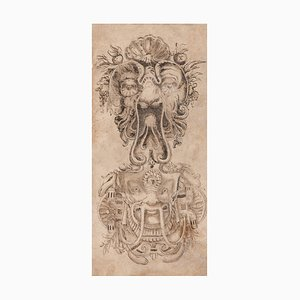 Unknown - Masks - Original China Ink Drawing - Frühes 19. Jahrhundert
