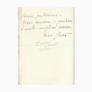 Lettre Autographe Carlo Carra - 1938