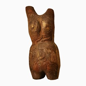 Minimalistische Weibliche Skulptur aus Holz, 1930er