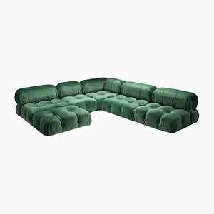 Camaleonda Modular Sofa in Pierre Frey Velvet Green Upholstery by Mario Bellini for B&B Italia / C&B Italia, 1970s, Set of 12