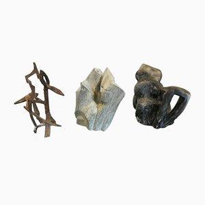 Triptychonskulpturen aus Metall, Stein & Marmor von Chartier, 3er Set