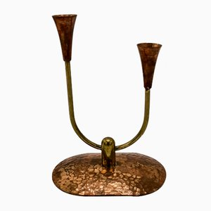 Scandinavian Brass & Copper Candleholder, 1960s