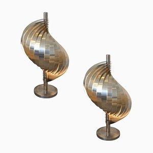 Stahl und Aluminium Tischlampen von Henri Mathieu, 1970er, 2er Set