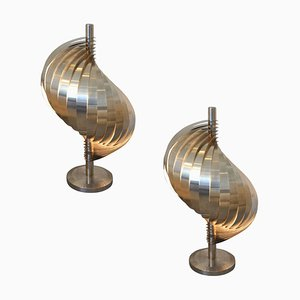 Steel and Aluminum Table Lamps by Henri Mathieu, 1970s, Set of 2