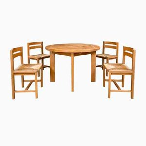 Elm Dining Table & Chairs Set from Maison Regain, 1960s, Set of 5