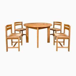 Ulmenholz Esstisch & Stühle Set von Maison Regain, 1960er, 5er Set