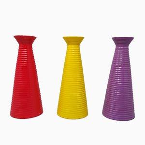 Italian Ceramic Vases, 1980s, Set of 3