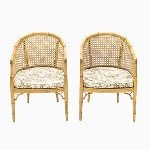 Bamboo and Rattan Lounge Chairs, 1960s, Set of 2